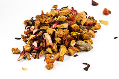Black tea with dried fruits Stock Photos