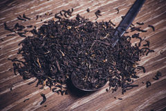 Black tea dried leafs on spoon Royalty Free Stock Photography