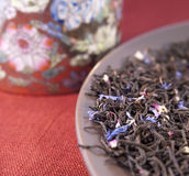 Black tea with flower petals Royalty Free Stock Image