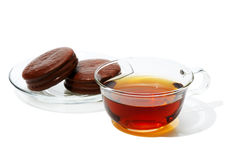 Black Tea in a glass cup Stock Photo