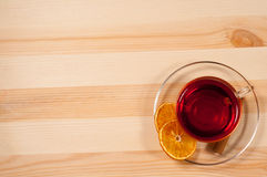 Black tea in  glass cup Royalty Free Stock Photography