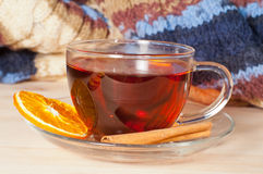 Black tea in  glass cup Royalty Free Stock Images