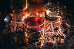 Black tea in a glass cup Royalty Free Stock Photography