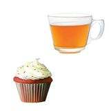 Black tea in a glass cup. Muffin with cream. Royalty Free Stock Photos