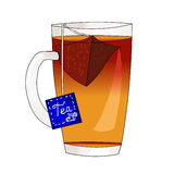 Black tea in a glass transparent mug. Tea bags. Hot drink. Cold drink. Fragrant tea. Tea ceremony. Vector. Royalty Free Stock Photography