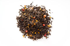 Black tea with honey cake, cocoa, cinnamon, pink peppercorns Royalty Free Stock Photo