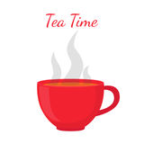 Black tea - hot drink. Red cup, morning drink. Vector illustration Stock Photography