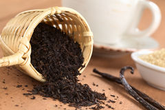 Black Tea in Infuser with Vanilla Royalty Free Stock Images