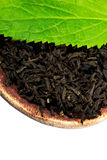 Black tea with leaf Stock Photos