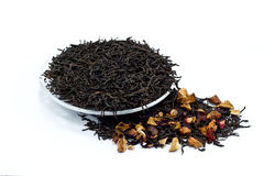 Black tea leaves with dried fruit tea Stock Images