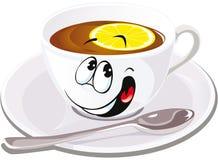 Black tea with lemon. On white background Royalty Free Stock Photo