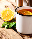 Black tea with lemon. Stock Image