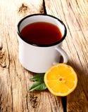 Black tea with lemon. Stock Photography