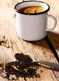 Black tea with lemon. Stock Photo