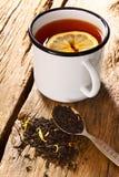 Black tea with lemon. Royalty Free Stock Photos
