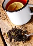 Black tea with lemon. Black tea with a lemon Stock Images
