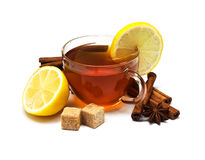 Black tea with lemon and cinnamon Royalty Free Stock Photography