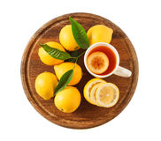 Black tea with lemon closeup isolated Stock Photos