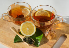 black tea with lemon Stock Photos