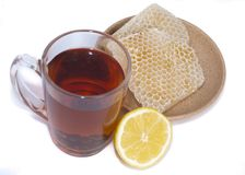 Black tea, lemon and honey Stock Image