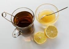 Black tea, lemon and honey Royalty Free Stock Image