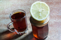 Black tea with lemon and honey. Good for weight loss and health Royalty Free Stock Photo