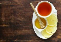 Black tea with lemon and honey Royalty Free Stock Photos
