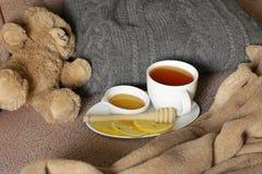 Black tea with lemon and honey Royalty Free Stock Photo