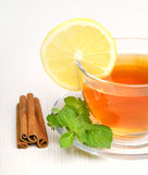 Black Tea with Lemon Stock Image