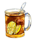 Black tea with lemons in a glass mug. Illustration for cooking site, menus and food designs. Watercolour isolated on white background royalty free illustration