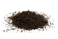 Black tea loose dried tea leaves. Isolated Royalty Free Stock Photography