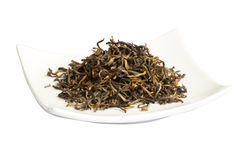 Black tea loose dried tea leaves, isolated Royalty Free Stock Photos