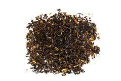 Black tea loose dried tea leaves, isolated on the white background. Sri Lanka stock image