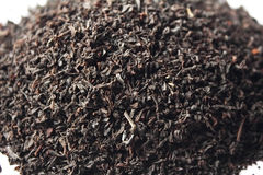 Black tea loose dried tea leaves macro Stock Photos
