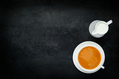 Black Tea with Milk and Copy Space Stock Photos