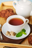 Black tea with mint Royalty Free Stock Photography