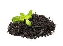 Black tea with mint leaf Royalty Free Stock Image