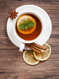 Black Tea With Mint Stock Image