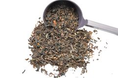 Black tea mix with metering spoon Royalty Free Stock Photo