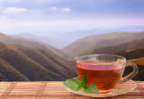 Black tea in mountains. Black tea with pepper mint on frash air in mountains Stock Photo