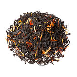 Black tea with orange peel, pieces of papaya and marigold petals.  Royalty Free Stock Photography