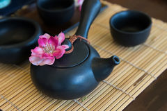 Black tea pot and cup Royalty Free Stock Photography
