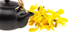 Black tea pot with Mokkara yellow Orchid flower isolated on whit Royalty Free Stock Photos