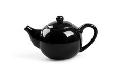 Black tea pot on white background Stock Photo