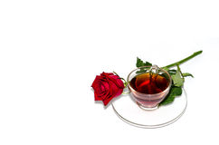 Black tea and red rose Royalty Free Stock Photo