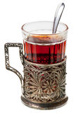 Black tea in retro glass Stock Photography