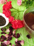 Black tea with rose flowers Royalty Free Stock Photos