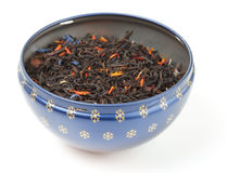 Black tea scented with fruits and flowers Stock Images