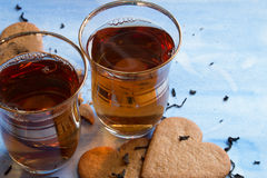 Black tea served in two Turkish cups Stock Photography