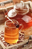 Black tea on a tablet Royalty Free Stock Images